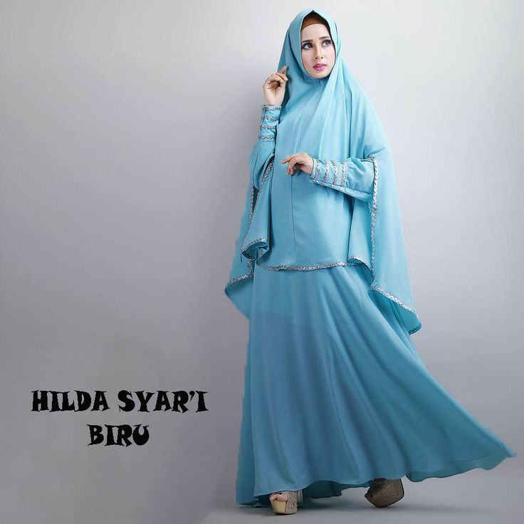 Gamis Syar'i Modern HILDA BIRU - http://warongmuslim.com/gamis-syari/gamis-syari-modern-hilda-biru/