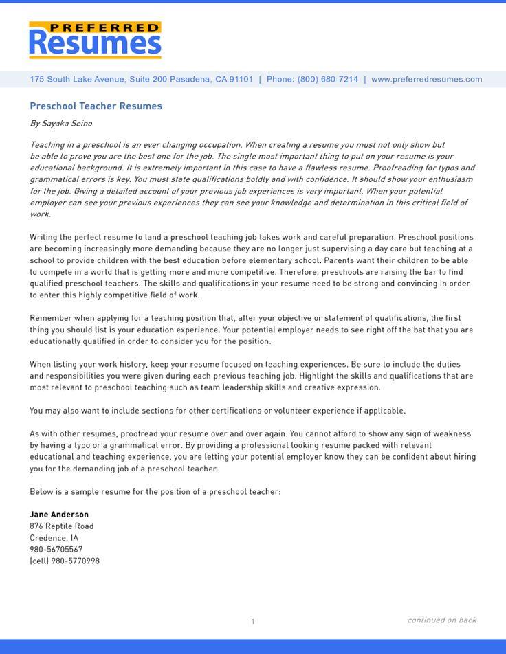objective for preschool teacher resume 2015 - http://resumesdesign.com/objective-for-preschool-teacher-resume-2015/