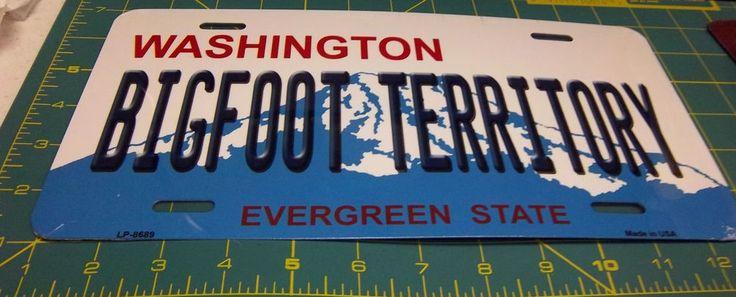 New Bigfoot Territory Washington License Plate - Great Novelty License Plate!