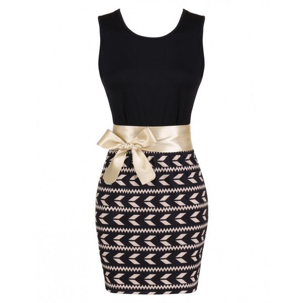 Fashion Women Sleeveless Print Bodycon Mini Dress With Belt Online ($52) ❤ liked on Polyvore featuring dresses, body con dress, print mini dress, pattern dress, sleeveless dress and belted dress