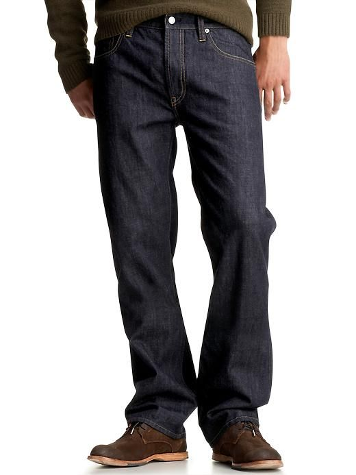 1969 straight fit jeans (dark rinse wash) - A dressier jean that goes great with leather shoes and a button-down. Take it a step further with a cord blazer.