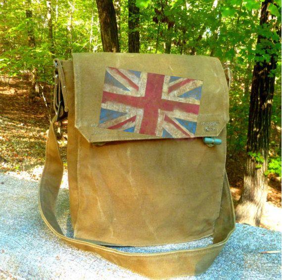 Britische Flagge auf Jahrgang militärische Canvas Messengerbag