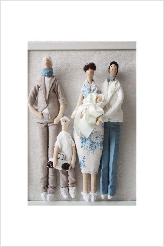 Retrato personalizado muñeca Tilda Gzhel estilo, hecho a mano Unido por Valeria Olsson