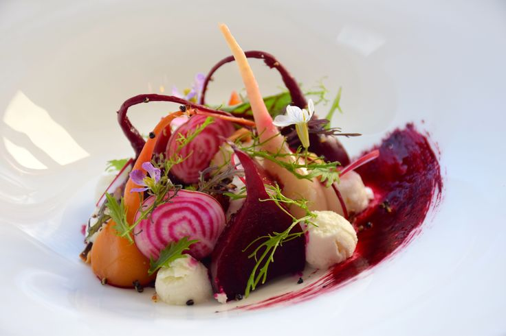 Beetroot and Goat Curd starter on our evening menu at Baroque Bistro