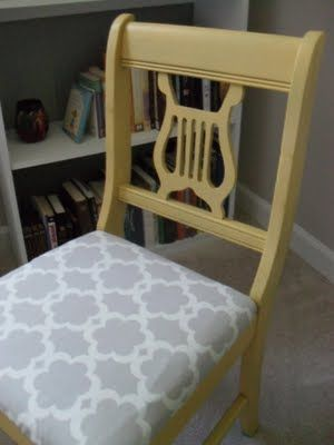 I just bought a chair just like this for $5! Will paint it and going to use an old leather jacket to cover the seat.