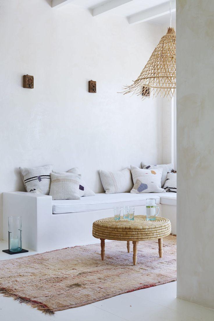Nooks ❤️❤️ Vintage 'Desire' Boujad Rug, Hemp Turkish Kilim Cushions, Beldi Glassware & Moroccan Rattan Table all available from tigmitrading.com