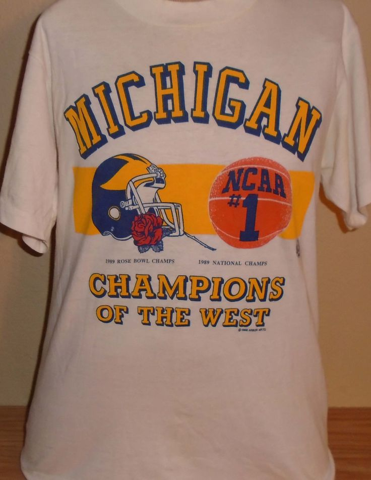 vintage 1989 Michigan Wolverines basketball and football t shirt Medium by vintagerhino247 on Etsy