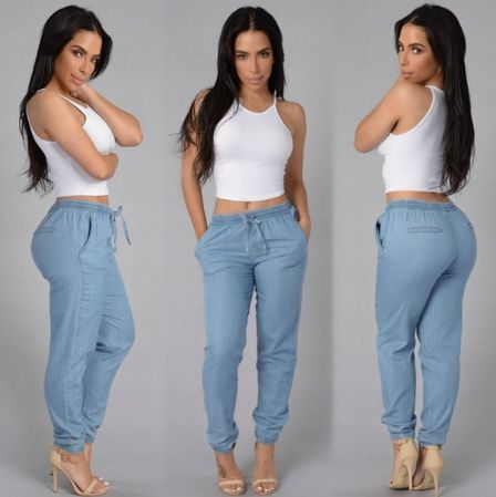 Womens Elastic Waist Casual Pants Gender:Women Item Type:Jeans Fit Type:Skinny Jeans Style:Pencil Pants Season :Spring,Summer Thickness:Midweight 100% Brand New Material: Cotton