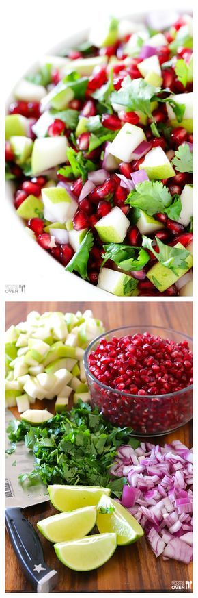 5-Ingredient Pear Pomegranate Salsa -- festive and easy appetizer to bring to winter get-togethers.