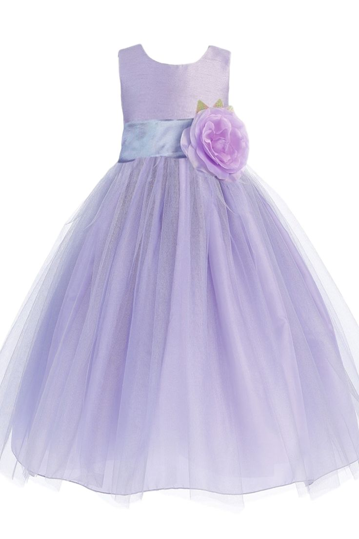 Lilac Layers of Tulle & Poly Silk Blossom Flower Girls Dress w Sash Color Choice (Girls 6 months - Size 12)