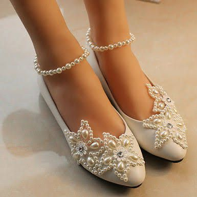 White Pearl Wedding Flat Ballet Lace Ups Flower Bridal Shoes