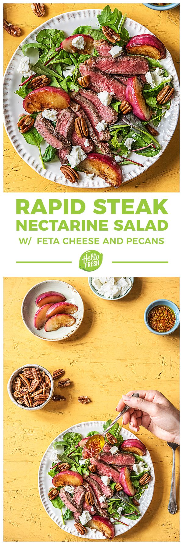 Easy Gluten-Free Steak and Nectarine Salad with Spring Mix, Pecans, and Feta Cheese | More healthy recipes on hellofresh.com
