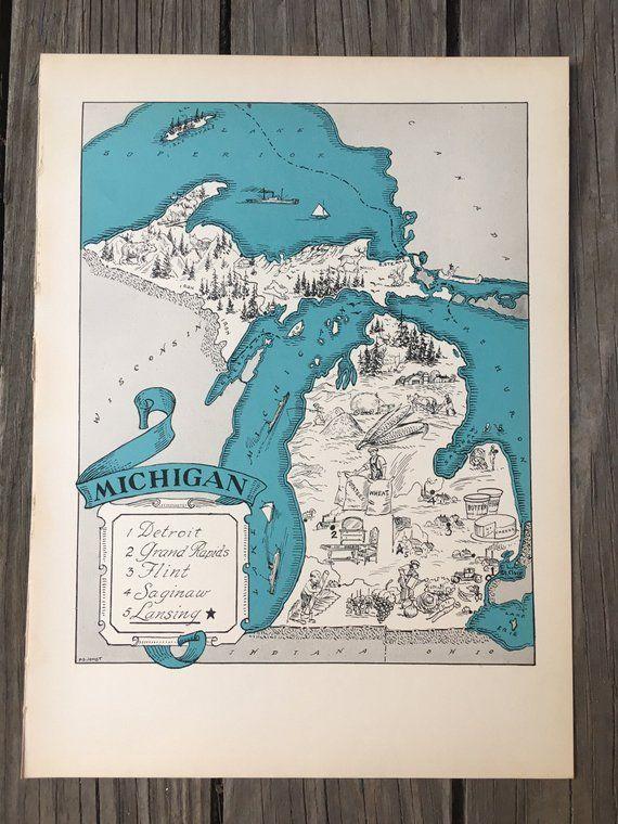 Michigan Map Mi Map Wall Art Michigan Gift 1930s Vintage Map Art Great Lakes State Wall Decor Map Of Michigan Cartoon Map Vintage Michigan