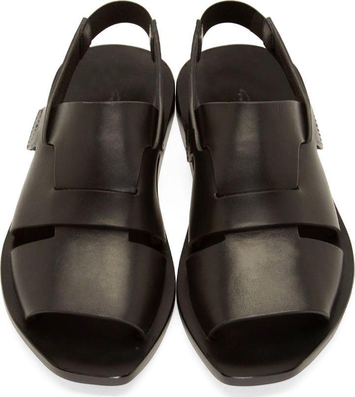 Rick Owens Black Leather Lazarus Sandals