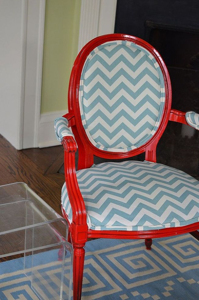 Re-Upholstered Red and Blue Chevron Chairs