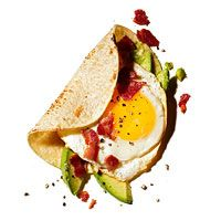 Breakfast Taco: bacon, egg, and avocado taco with greek yogurt