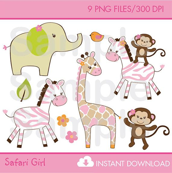 Safari Girl Jungle Animal Clip Art INSTANT by LittlePrintsParties, $5.00