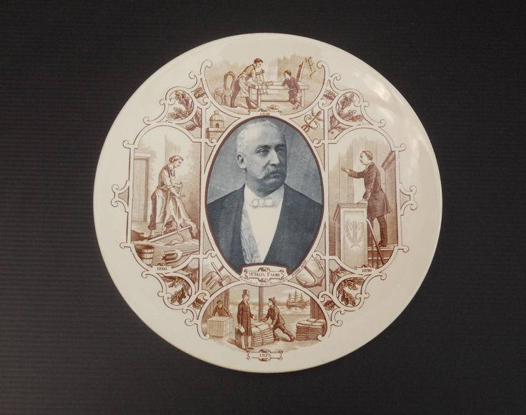 Antique French Ceramic Wall Plate 19th.c Sarreguemines U&C Ceramic with French President Felix Faure 1895-1899 de la boutique LaMachineaBrocantes sur Etsy