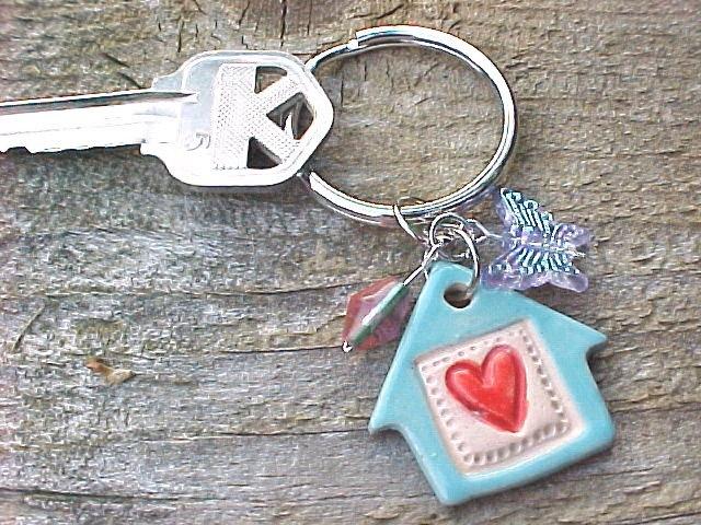 Can Be Made in MANY #Colors !Light #Blue #LittleClayHouse Red Heart #KeyRing KEY Chain Pottery