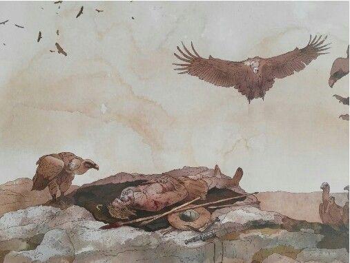 Exposición del cadáver de un guerrero celtíbero a los buitres