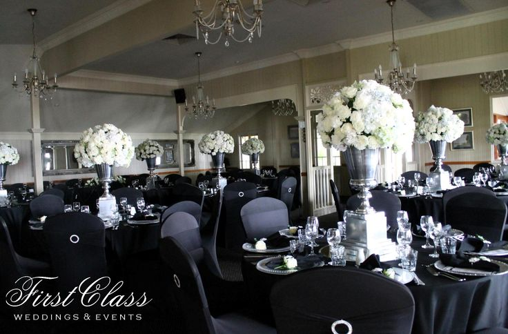 An idea....Black & Silver Wedding - Topiaries, Beaumont House. Styling by First Class Weddings & Events. Brisbane Wedding Decorators.