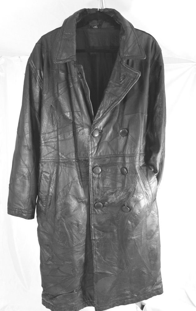 Black Patchwork Leather Trench Coat, Men's Size Small #unbrabded #Trench, $55.00