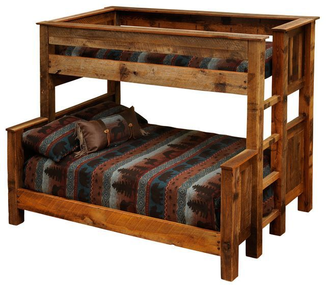 Twin over Full - Twin over Queen Rustic Bunk Beds - Barnwood : MyBarnwoodFrames.com | Barnwood Frames, Rustic Picture Frames, Rustic Mirrors & Home Decor