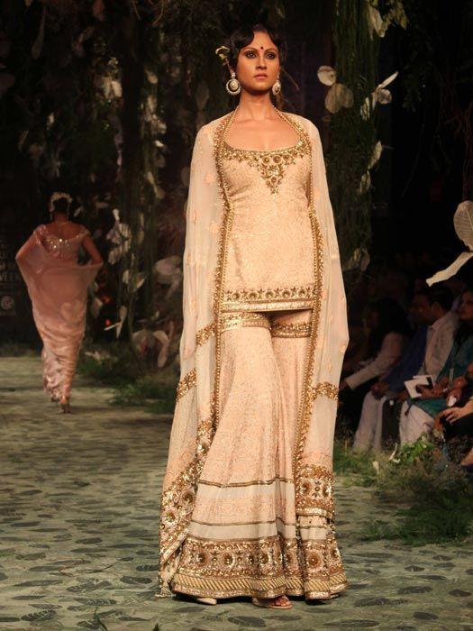 Tarun T. White & Gold Sharara