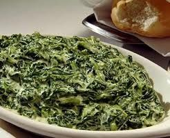 Ruth Chris Steakhouse Copycat Recipes: Creamed Spinach -- Bechamel Sauce:  1/2 cup butter 1/4 cup all purpose flour 2 tablespoons chopped onion 1 clove 1 small bay leaf 1/4 teaspoon salt 2 cups half and half or whole milk  Spinach: 1 lb. fresh spinach, well cleaned and stemmed salt and fresh pepper, to taste 2 T. butter, softened
