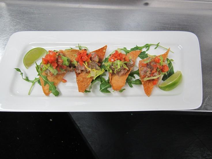 Tuna Ceviche wonton tostada