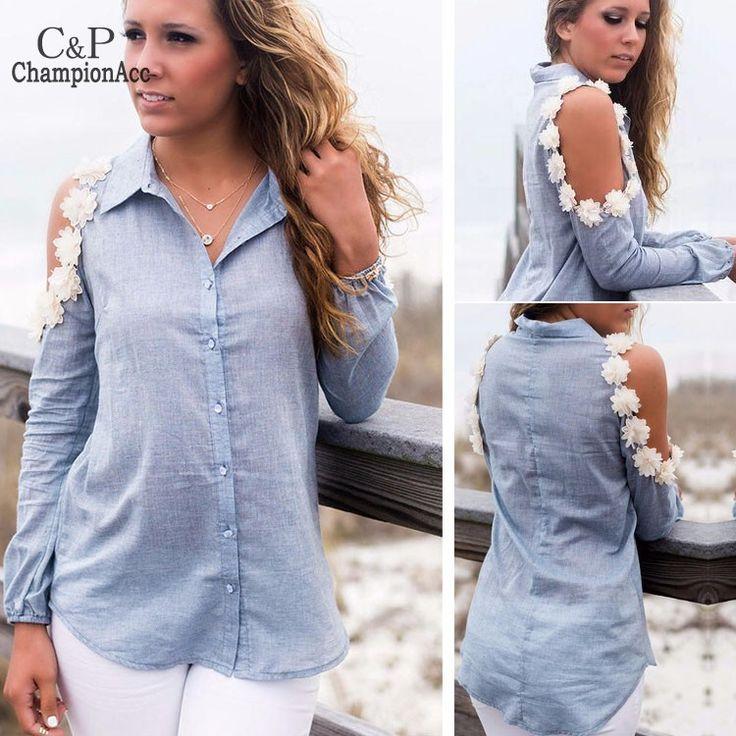 Горячих женщин голубой джинсовые рубашки топы мода off-плечи кружева аппликация дамы блузка с отложным воротником с длинным рукавом классические рубашки