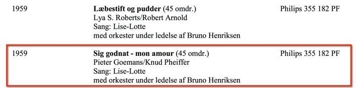 """Single med Liselotte. Sangen Sig godnat - mon amour"""" har deltaget i Hollandsk Grand Prix.   Jeg er intereseret hvad end det er mp3 - et scan af coveret eller bare noget, der ligner :-)"""