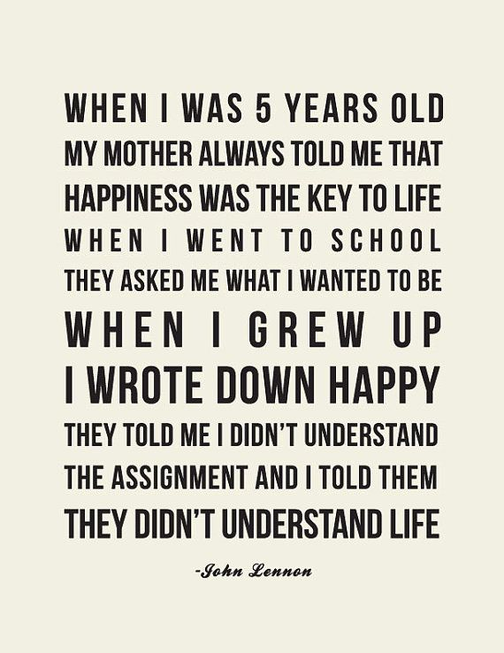 John Lennon Happiness Quote // Art Print by LADYBIRD INK, $18.00 on etsy