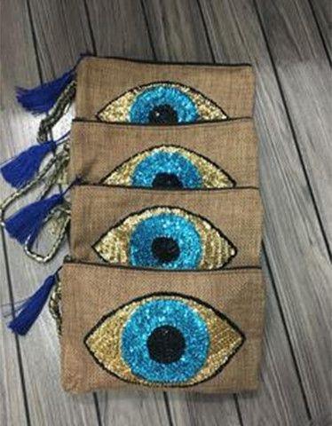 Barthelemy Rose Evil Eye Clutch