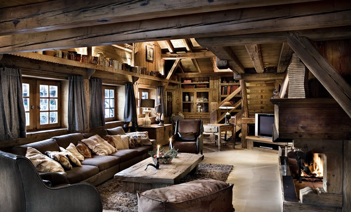 Luxury ski chalet style living room chalet living rooms pinterest wool fireplaces and style - Chalet deco ...
