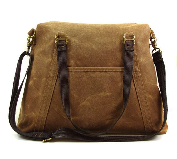 Large Brown Waxed Canvas Tote  Work Bag or Travel by NikoletteBags, $145.00