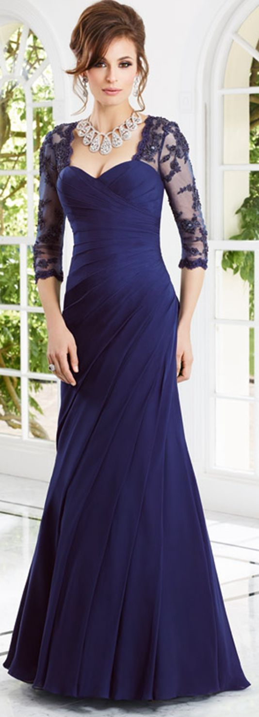 Generous A-line Square 3/4 Length Sleeve Beading Lace Floor-length Chiffon Mother of the Bride Dresses