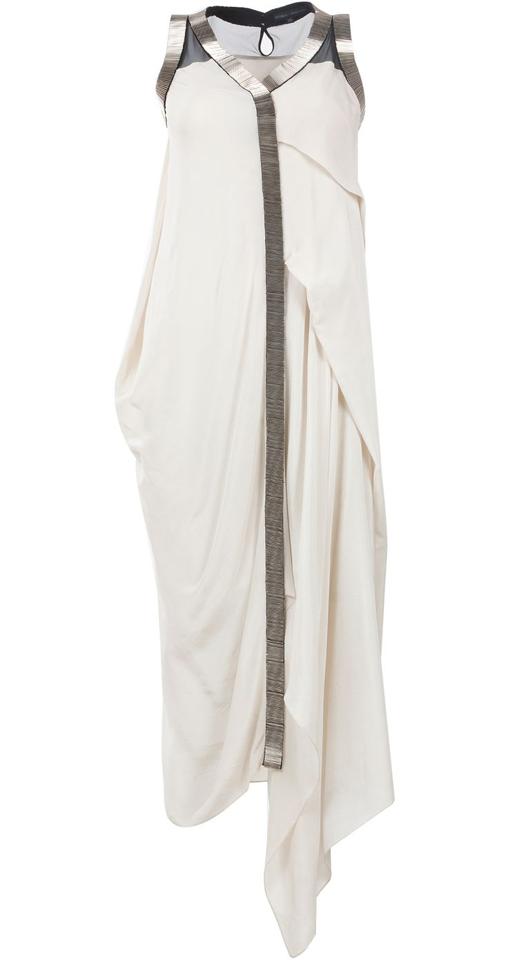 Asymmetrical drape dress with metal embroidery by ROHIT GANDHI AND RAHUL KHANNA. Shop at http://www.perniaspopupshop.com/whats-new/rohit-gandhi-and-rahul-khanna-3
