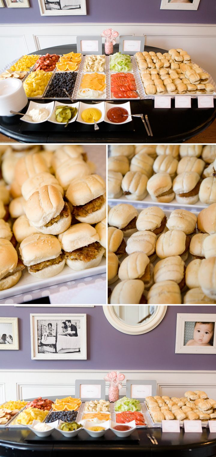 A BURGER BAR!! cute party idea