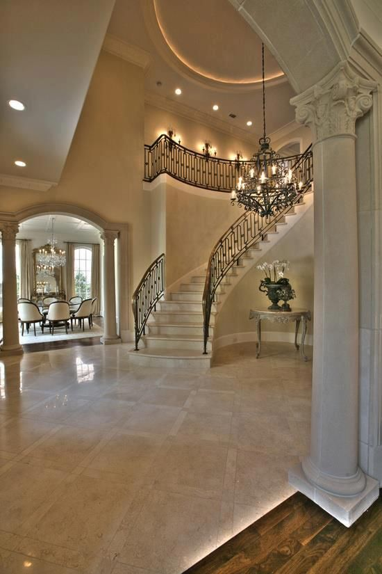 Grand entryway stunning staircases pinterest for Mansion foyer designs