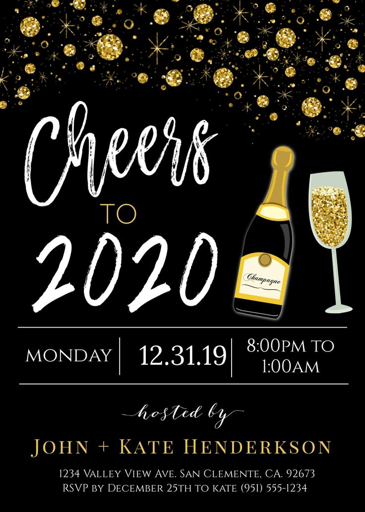 pin on 2020 new year's invitation card