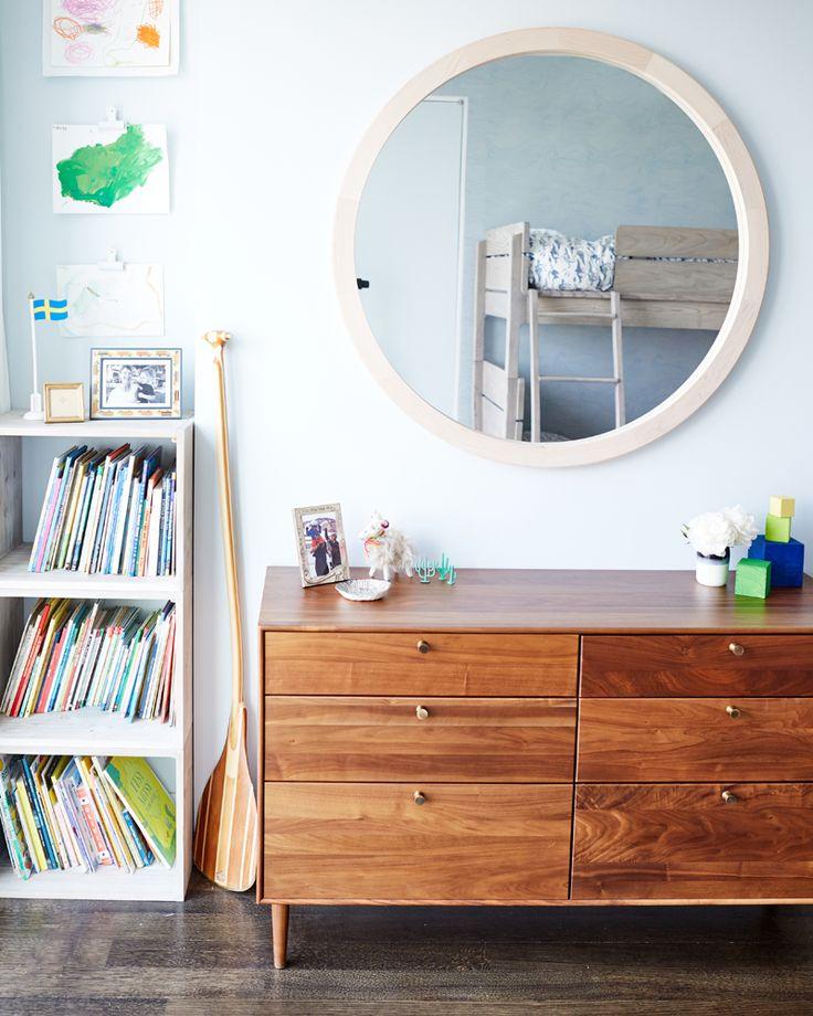 round mirror & low dresser :: Liz Libré's Brooklyn House Tour
