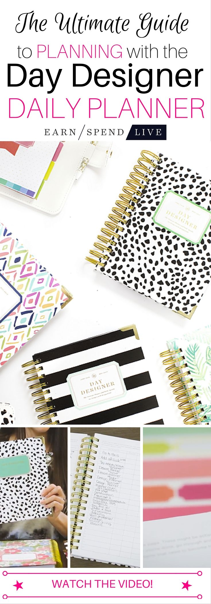 How to use your @daydesigner Planner: earnspendlive.com expert planner explains how she uses her planner, from goal-setting worksheets to the daily layout. A must watch!