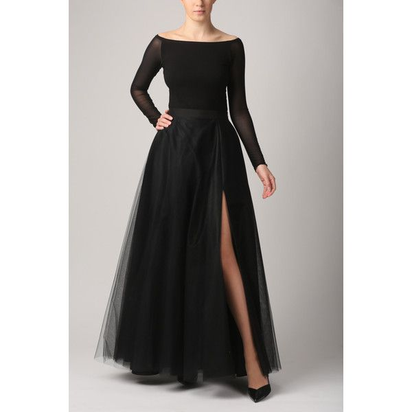 Maxi tulle skirt with pockets and slit, tulle skirt, black skirt,... ($218) ❤ liked on Polyvore featuring skirts, high slit maxi skirt, black flare skirt, maxi skirt, slit maxi skirt and long tulle skirt
