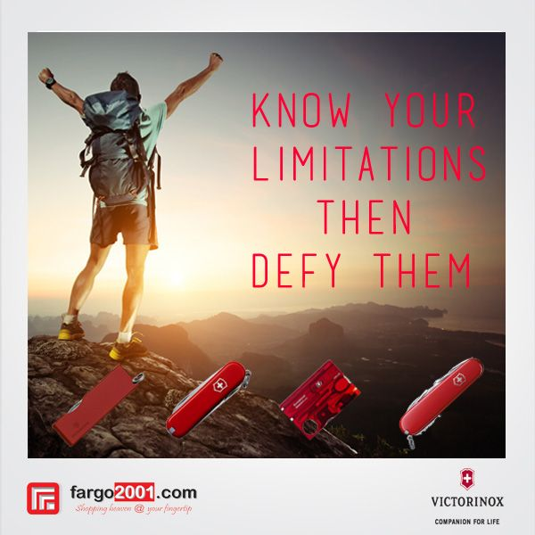 """Various Travel & Outdoor Accessories from Victorinox are Available Exclusively at Fargo2001.com ! """"Know Your Limitation Then Defy Them"""" http://fargo2001.com/travel-amp-outdoor-activities-188"""