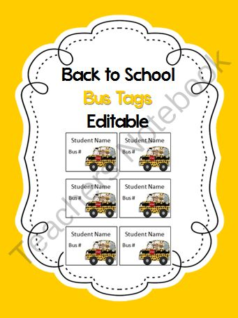 Freebie! Help your little ones to remember their bus number with these printable tags.