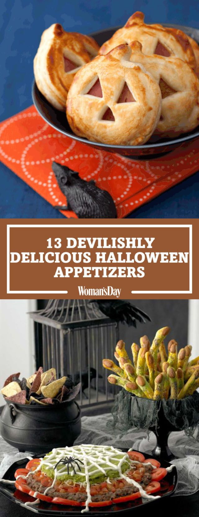 Save these halloween appetizer recipes for later by pinning this image and follow Woman's Day on Pinterest for more.