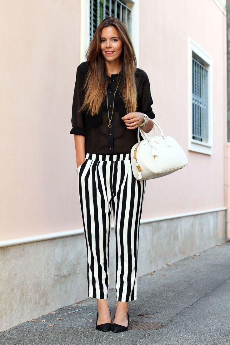outfit estate 2013 | pantaloni a righe | camicia nera | scarpe zara