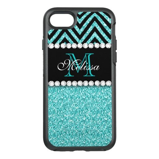 AQUA GLITTER BLACK CHEVRON MONOGRAMMED OtterBox SYMMETRY iPhone 7 CASE