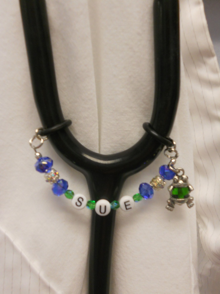 Handmade- Beaded Stethoscope Name Tag. Can be done in any colors & charms